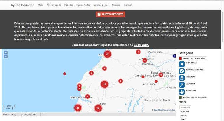 """Mapa de """"Ayuda Ecuador"""""""